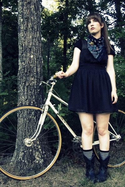 black Forever 21 dress - black Forever 21 socks - black vintage thrifted boots -