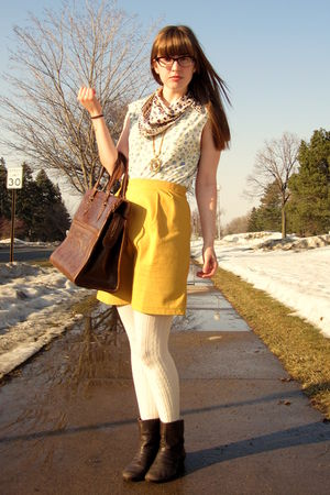 gold Amanda Christine skirt - white Urban Outfitters blouse - brown Urban Outfit
