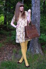 Beige-anthropologia-dress-gold-american-apparel-tights-brown-miz-mooz-shoes-