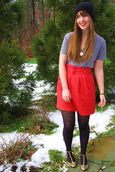 black thrifted hat - red thrifted and altered vintage skirt - gray American Appa