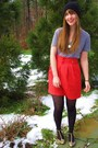 Black-thrifted-hat-red-thrifted-and-altered-vintage-skirt-gray-american-appa