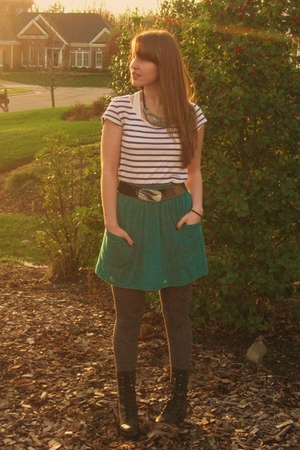 black Steve Madden boots - green American Apparel skirt - white H & M shirt - si