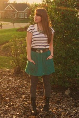black Steve Madden boots - green American Apparel skirt - white H & M shirt - si