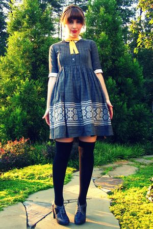 gray modcloth shoes - gray vintage dress - black Target socks - gold vintage tie