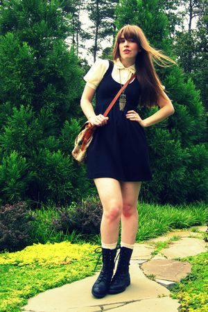 black Urban Outfitters dress - black Steve Madden boots - brown vintage purse