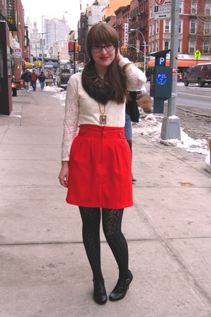 white thrifted shirt - black Steve Madden shoes - black Target tights