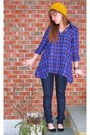 Purple-aqua-shirt-black-urban-outfitters-shoes-blue-madewell-jeans-yellow-