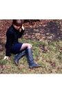 Black-aqua-jacket-blue-urban-outfitters-dress-black-steve-madden-boots-bla