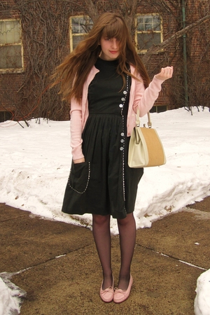 white vintage bag - pink vintage shoes - black vintage dress