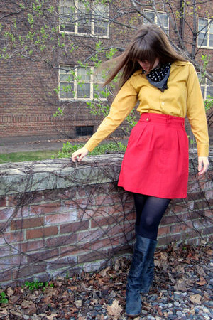 red thrifted vintage skirt - gold vintage shirt - black Steve Madden boots - bla