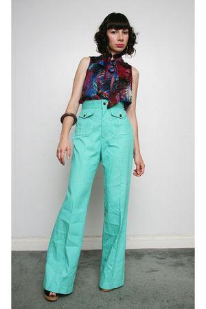 green vintage jeans