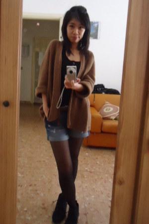 ankle boots Zara boots - Zara shorts - Bershka top - Zara cardigan