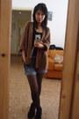 Ankle-boots-zara-boots-zara-shorts-bershka-top-zara-cardigan