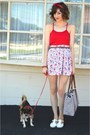 Blue-bag-red-crop-tank-top-forever-21-top-white-skirt-white-vintage-flats