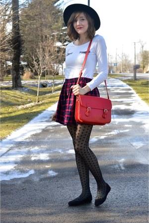 red plaid mini Forever 21 skirt - black Forever 21 hat - black ModClothcom flats