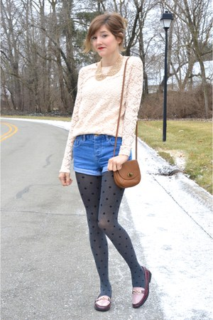 peach Forever 21 top - gray Forever 21 tights - maroon modcloth loafers