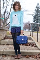 light blue knit polar bear H&M sweater - navy Forever 21 purse