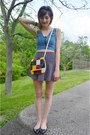 White-vintage-purse-blue-hair-accessory-black-forever-21-skirt