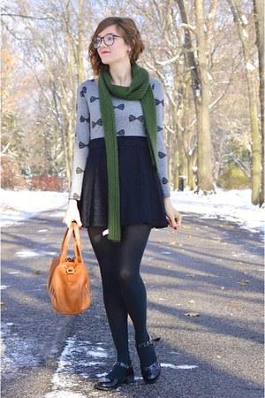 black modcloth shoes - black lace dress - gray H&M shirt