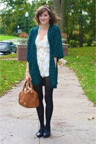 white romper - teal Forever 21 sweater - bronze bag - black modcloth flats