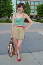 red Forever 21 belt - brown tote bag bag - cream floral skirt skirt - red flats