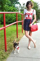 red Forever 21 purse - navy skirt - red Urban Outfitters t-shirt