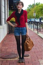 ruby red Forever 21 top - black sequin H&M scarf - bronze Forever 21 bag