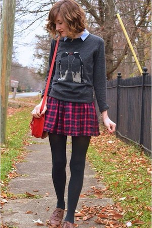 gray penguin modcloth sweater - brown Target shoes - red faux leather bag