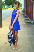 blue thrift dress - black Charlotte Russe bag - light pink modcloth flats