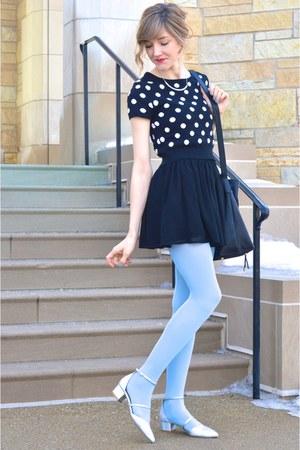 black Forever 21 sweater - light blue pastel tights - black modcloth bag