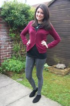 maroon angora H&M cardigan - charcoal gray jeggings next jeans