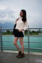 navy denim Primark shorts - brown tan new look boots - cream cream Primark shirt
