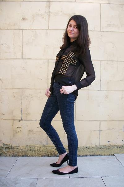 black sheer new look blouse - black pointy flats xhilaration shoes
