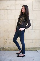 black sheer new look blouse - black pointy flats xhilaration shoes