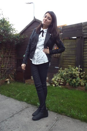 black leather new look jacket - black chelsea Topshop boots