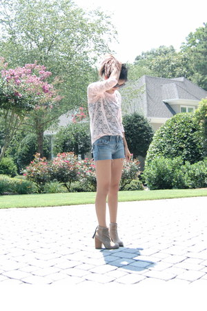tan rumble Jeffrey Campbell boots - blue Miss Me shorts - light pink lace Foreve
