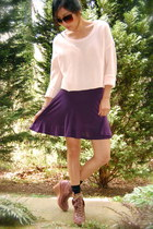 brown Jeffrey Campbell boots - peach H&M sweater - purple Forever 21 skirt