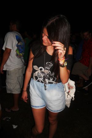 black H&M t-shirt - blue H&M shorts - Mia shoes