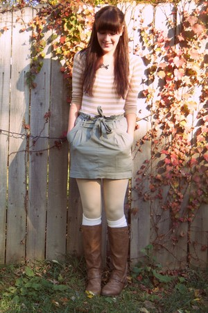 peach Old Navy sweater - army green Urban Outfitters skirt - white Target tights
