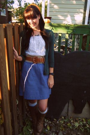white thrifted blouse - blue Target skirt - green Target cardigan - white Target