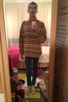 tawny Urban Outfitters jumper - navy Topman jeans - carrot orange Uniqlo top