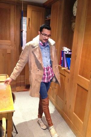 beige Urban Outfitters coat - navy Topman jeans - tawny H&M leggings