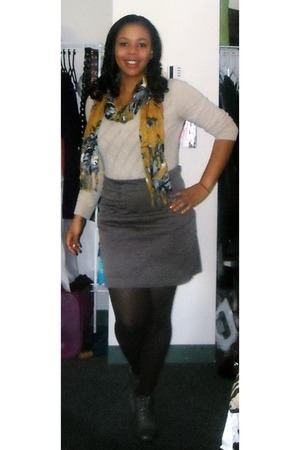 free people shoes - H&M skirt - H&M sweater - Forever 21 scarf