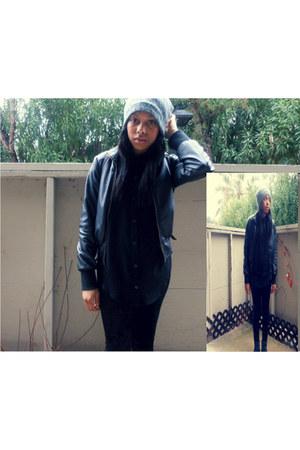 black leather jacket Forever 21 jacket - black velvet Forever 21 leggings