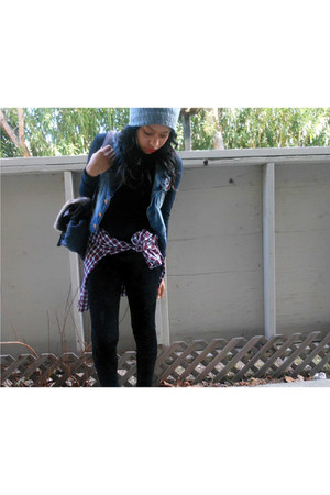 velvet Forever 21 leggings - beenie hat - Forever 21 shirt - Old Navy shirt