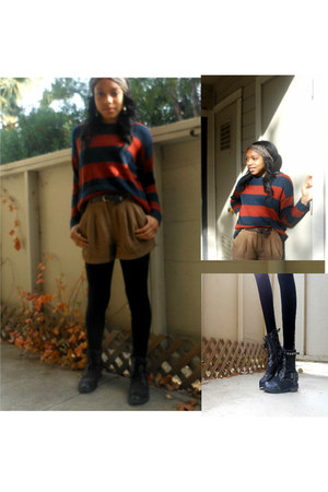 crimson striped Forever 21 sweater - dark gray H&M boots - black H&M leggings