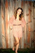beige H&M dress - brown H&M belt - gold Forever 21 accessories