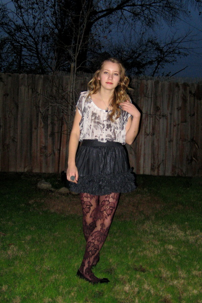 red Target tights - blue Forever 21 skirt - silver Charlotte Russe shirt - silve