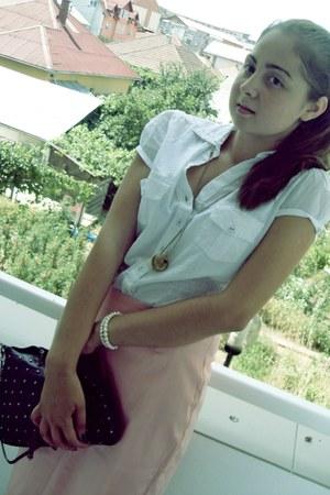 white christian dior shirt - black H&M bag - peach Mango skirt
