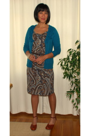 light brown Mango dress - tawny Bolo heels - teal cardigan